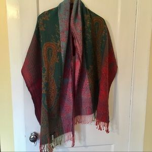 NWT Lucky Brand Red Boho Wool Scarf (reversible)